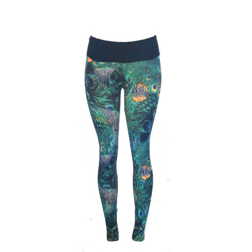 Posto9 high waist leggings - ethically made with Brazilian Lycra. Celebrate the summer festival season with this gorgeous peacock print in blues and turquoise.