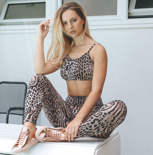 Posto9 Activa Ethical Black rose gold and blush leopard print leggings made with bio degradable lycra