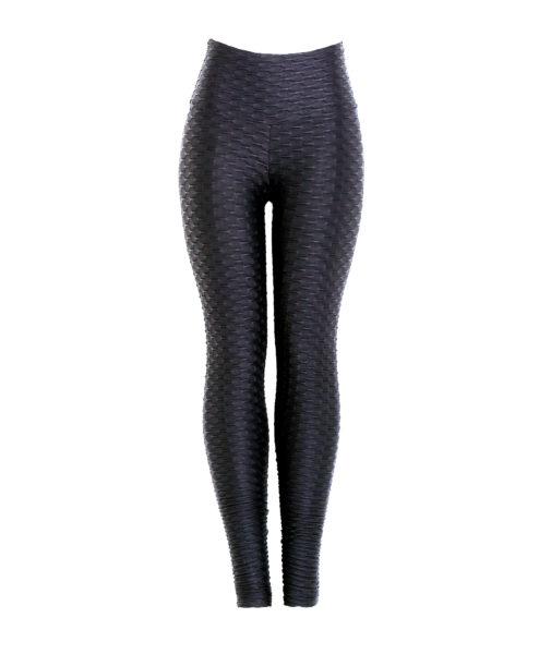 Wet look shiny black textured leggings