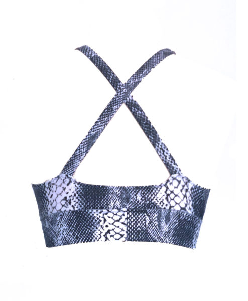 Eco-friendly Snake Print Polewear bra made in Ibiza from recycled fishing nets