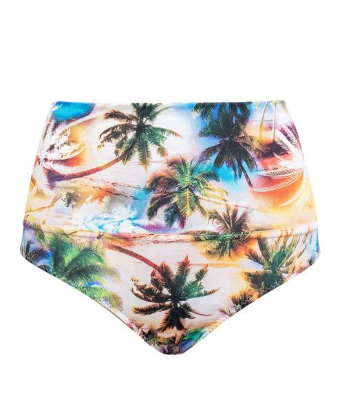 Palm tree print high waist pole short by Posto9. Made in Ibiza