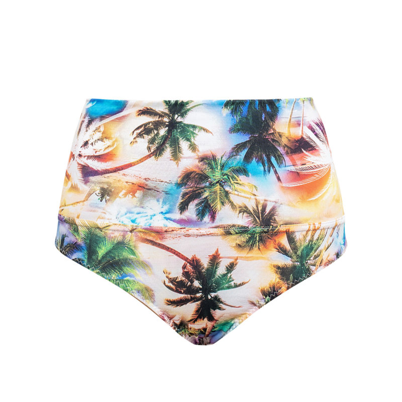 Palm tree print high waist pole short by Posto9. Made in Ibiza