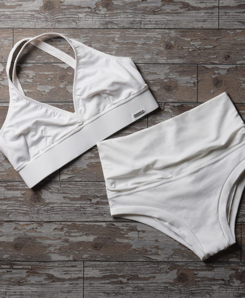 A white supplex cross-back Polewear top and shorts set made in Ibiza