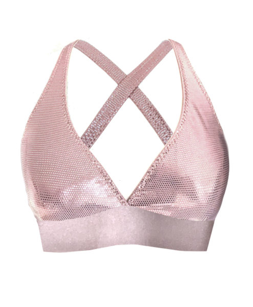 A rose gold metallic Polewear sport bra made in Ibiza