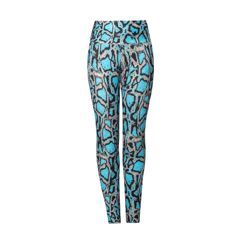 Ethically made Brazilian body sculpting fitness leggings with a turquoise blue snake print. A squat-proof essential for your fitness wardrobe by Posto9