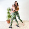 Posto9 Ethically made, squat-proof, opaque tropical print leaf leggings leggings made with Brazilian Lycra