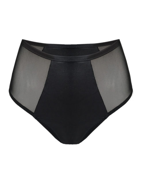 Posto9 shiny mesh black high waist Pole dance shorts