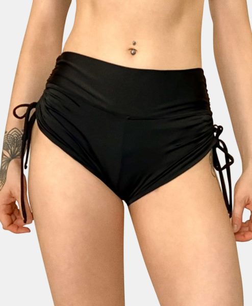Posto9 High Waist Black Drawstring Pole Short Noa