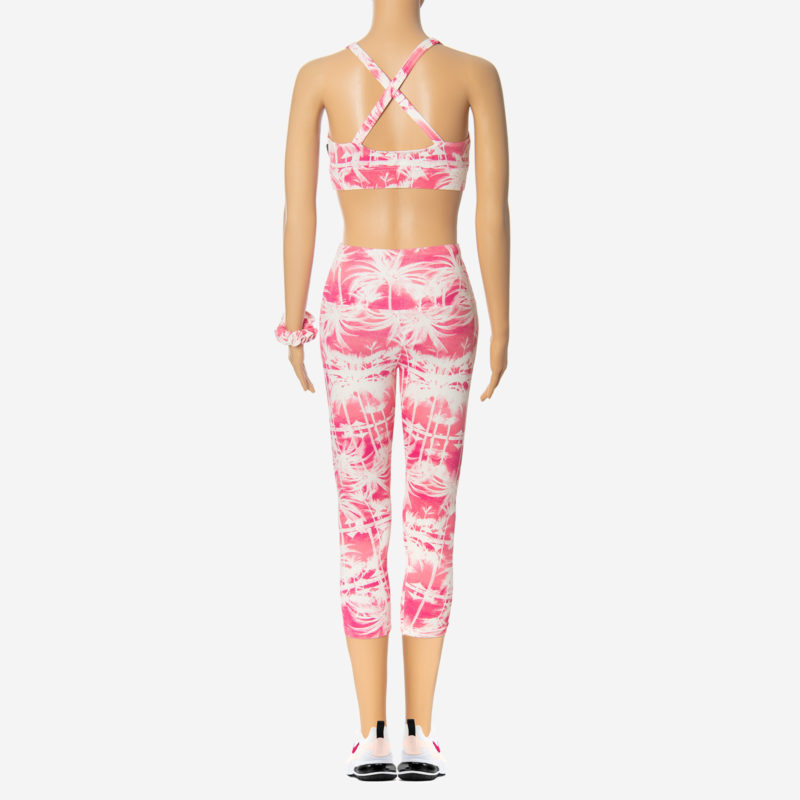 Posto9 Pink Palmtree Print Stretch capri 3/4 length leggings for Pole Dance, Fitness, and Yoga
