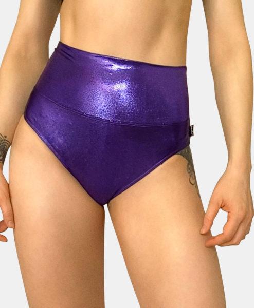 Posto9 metallic purple high waist pole dance shorts