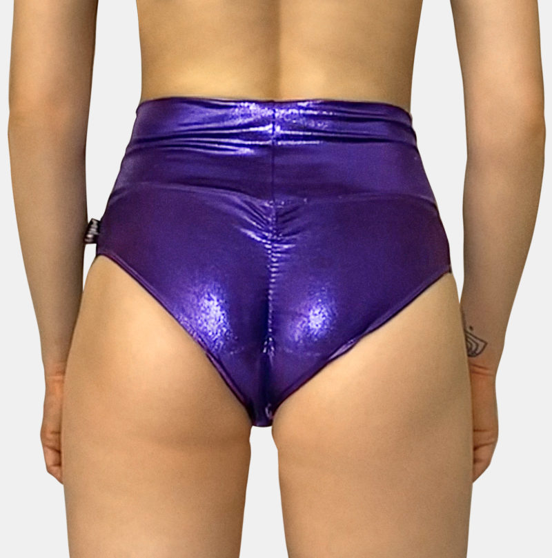 Posto9 metallic purple high waist pole dance shorts