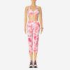 Posto9 Pink Palmtree Print Stretch Bra for Pole Dance, Fitness, and Yoga