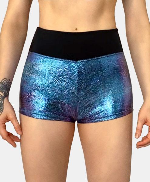 Posto9 High Waist Irridescent Metallic Mermaid Shorts