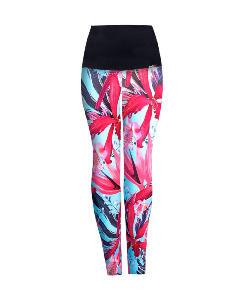 Posto9 Turquoise flower print high waist leggings for Pole Dance and Yoga