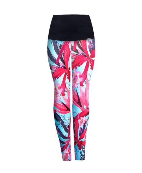Posto9 Turquoise flower print high waist leggings for Pole Dance and Yoga