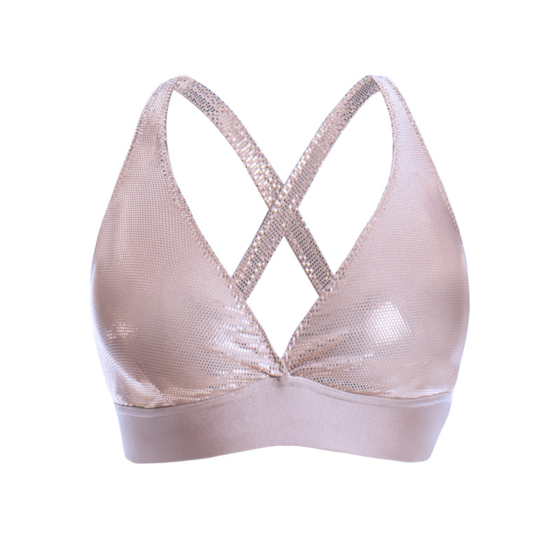 Posto9 rose gold metallic shine bra sports bra yoga top bralette