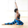 Posto9 Blue indigo tie-dye print high waist leggings for Pole Dance and Yoga