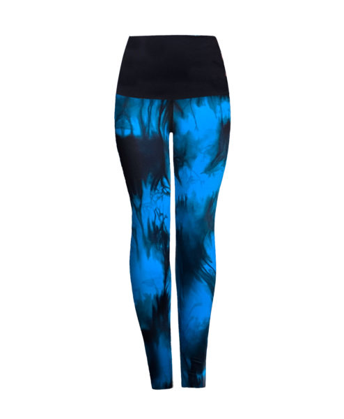Posto9 Blue indigo tie-dye print high waist leggings for Pole Dance and Yoga
