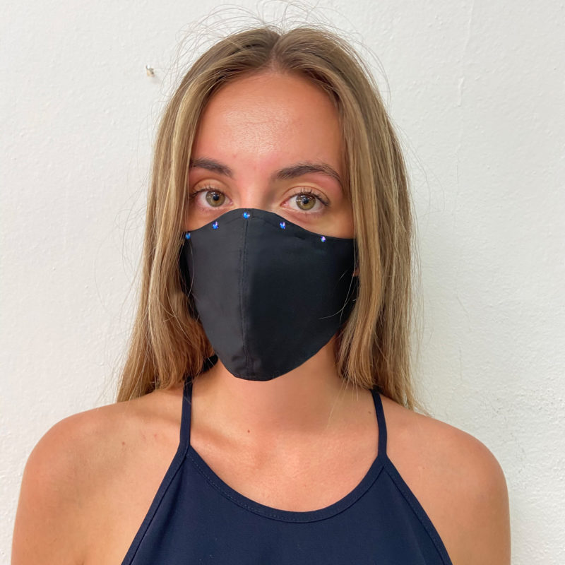 Posto9 Black Crystal Face Mask - Made with 100% cotton fabric