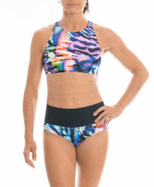 Posto9 Eco Recycled Rainbow Zebra Print Racer Back Sport Bra for Gym, Pole Dance and Yoga