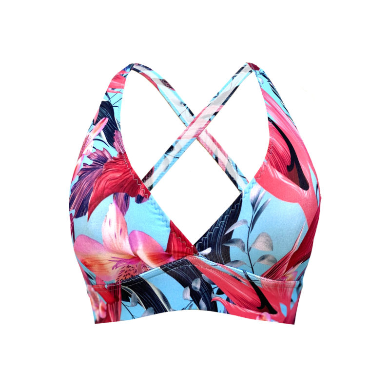 Posto9 Sustainable Floral Print Sport Bra for Pole Dance and Yoga