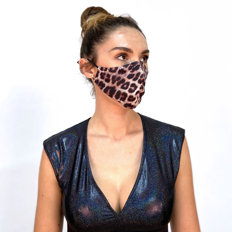 LEOPARD PRINT MASK created for Yoga Stops Traffick, an annual campaign uniting yoga practitioners across the globe to take a stand against human trafficking. You can take part by running an event with your yoga studio, putting together a community event, or doing yoga in your own home. All funds raised go to supporting survivors of human trafficking in South India.