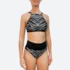 Posto9 silver metallic black zebra print sport bra for yoga, pole dance and gym