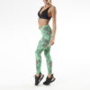 Posto9 high waist leggings with green leaves on a leopard print base