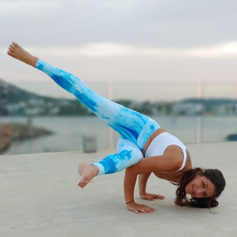 Posto9 High Waist Sculpt Yoga leggings Turquoise tie-dye Print Mykonos