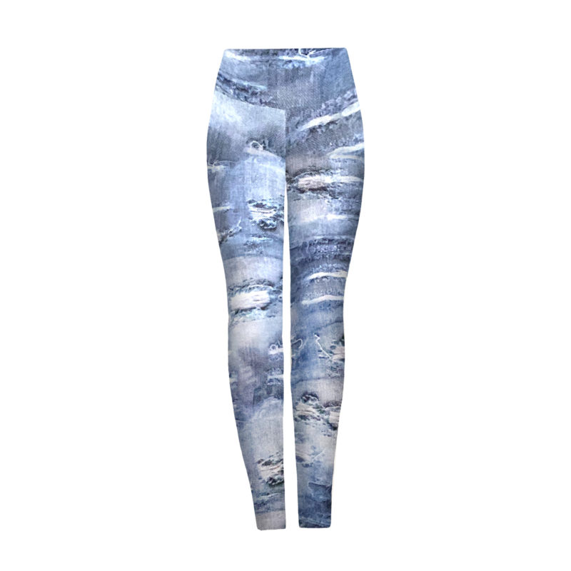 Posto9 high waist leggings with a distressed denim print base