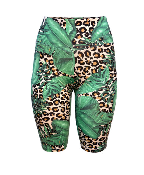 Posto9 high waist biker shorts with a lush leopard leaf print