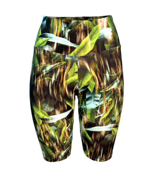 Posto9 high waist biker shorts with a lush leaf print